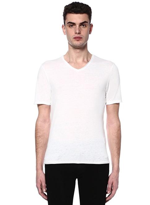 Alpha Studio V Yaka Tişört Beyaz